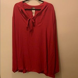 Red chiffon tie front blouse